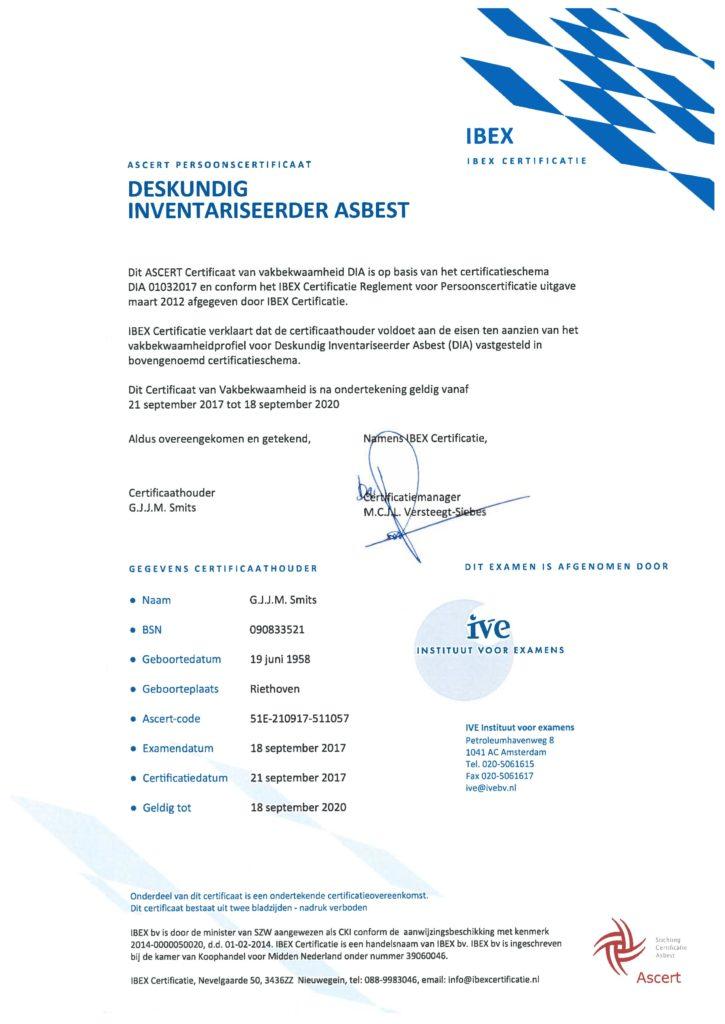 DIA Certificaat